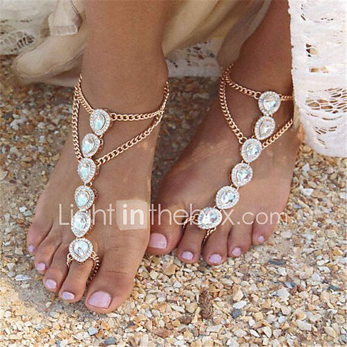 Women's Anklet / Bracelet Imitation Pearl Rhinestone Alloy Fashion Barefoot Sandals Drop Jewelry For Daily Casual