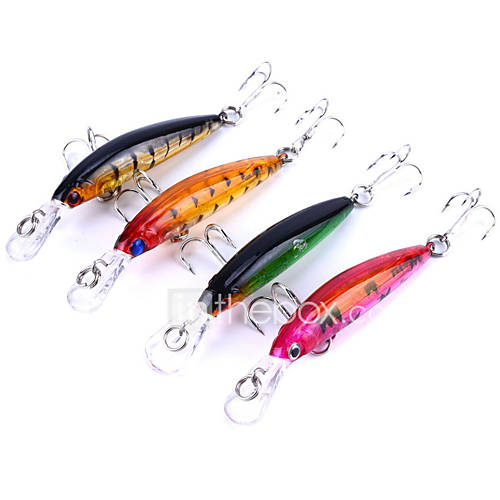 "4 pcs Hard Bait Minnow Fishing Lures Lure Packs Minnow Hard Bait g / Ounce mm / 2-3/4"" inch Plastics Sea Fishing Bait Casting Spinning"