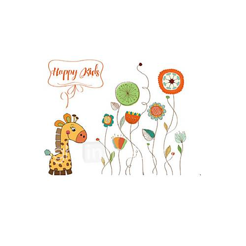 Cartoon Giraffe PVC Wall Stickers Happy Kids Quote Flowers Wall Decals Home Decor For Baby Kids Room Living Room
