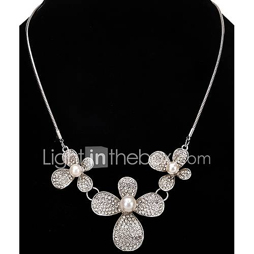 Pendant Necklaces Chain Necklaces Women's Rhinestone Flower  Pearl Rhinestone Alloy Dailywear Party Movie Jewelry Gift