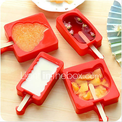 Cartoon DIY Silicone Ice Cream Mold Popsicle Maker Holder Frozen Ice Mould with Popsicle Sticks Kitchen Tools Random Shape