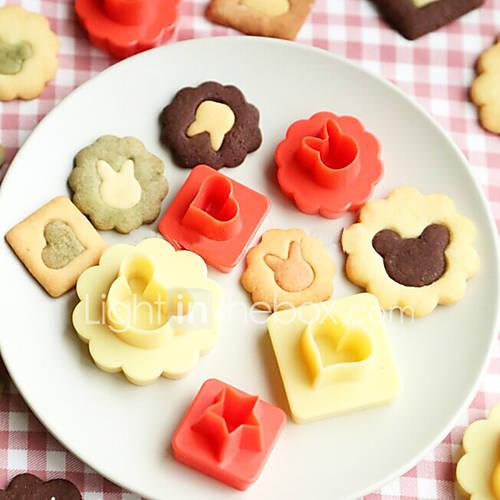 8 Pcs /Lot 3D Biscuit Cookie Molds Hollow Heart Moon Star Sun Tree Rabbit Fish Shapes Cookies Molds Suit DIY Cake Cutter