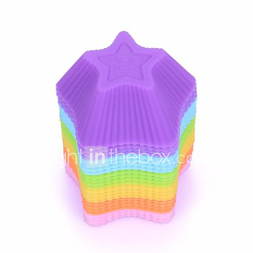 12pcs/lot Mixed color Silicone Muffin Cup Cupcake Mold Star Form Durable Jelly Soap DIY Bake Cake Pan Molds Bakeware Baking Pastry
