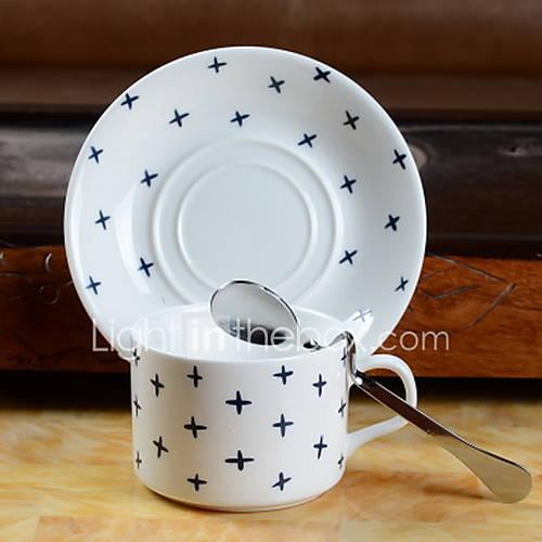 Nordic Striped Coffee Cups Dish Lattice Coffee Cup Set