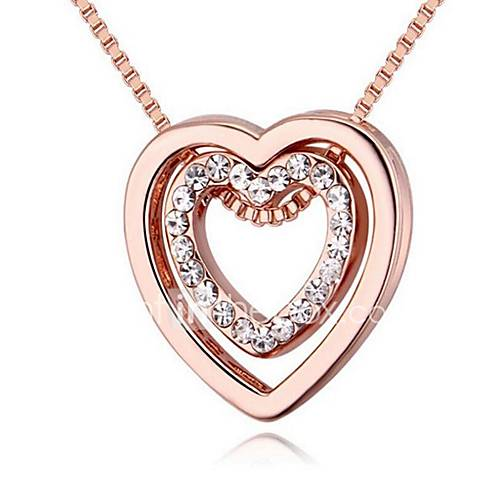 Women's Pendant Necklaces Jewelry Heart Gold Plated Alloy Heart Jewelry For Birthday Event/Party Other