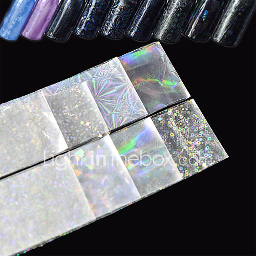 8pcs/Set 204cm Transparent Laser Nail Art Transfer Foil Stickers Glitter Broken Glass Starry Decal White Shining  DIY Nail Tips Starlight Decorations