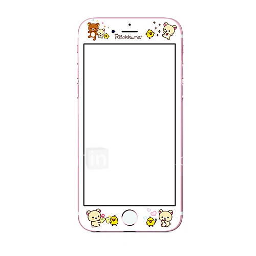 Screen Protector For iPhone 6s iPhone 6 Tempered Glass 9H Hardness Explosion Proof Bear Cartoon 3D Curved Edge Full Body Screen Protector For Apple