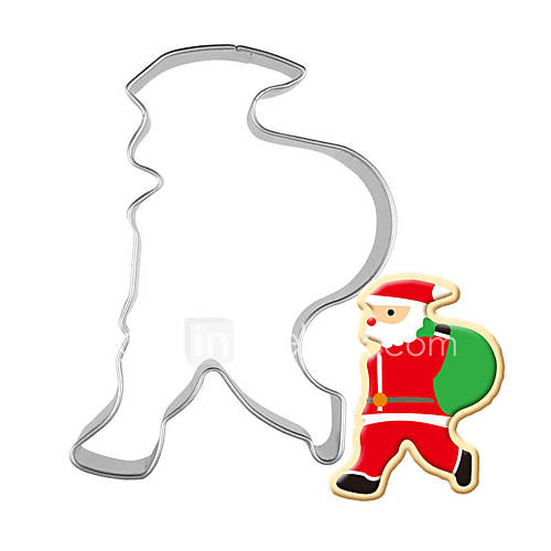 1pc Stainless Steel Santa Claus backpack Shape Cookie Cutter 3D Biscuit Pastry Fondant Cookie Decorating Mold DIY Cake Tools