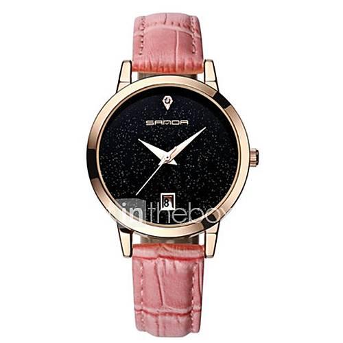 Women's Fashion Watch Quartz Genuine Leather Band White Brown Pink