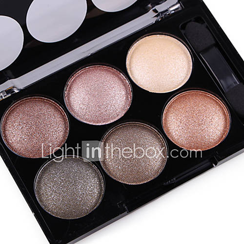 Alpha Pro 6 Color Natural Glitter Silky Shimmer Naked Eye Shadow Plate Nude Eyeshadow Powder Smoky Eyes Makeup Cosmetic Palette  Brush Set