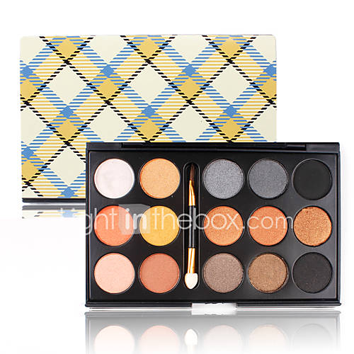 Pro Earth Nude 15 Shapes Shimmer Pigment Eyeshadow Palette Cosmetic Makeup Smoky Eye Shadow Kit Set with a Double End Sponge Brush
