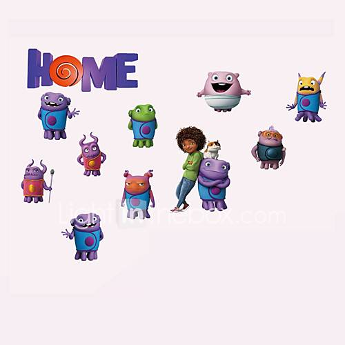 Home Quote Wall Stickers Cartoon Alien Figure  Animals Pig Wall Decals Removable Sticker Home Decor For Baby Kids Room Living Room