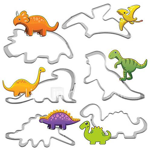 6pc/set Stainless Steel dinosaur Shape Cookie Cutter 3D Biscuit Pastry Fondant Omelette Cookie Decorating Mold DIY Cake Tools