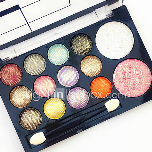 Professional 2in1 BlusherEyeshadow 12 Glitter Shimmer Color Eyeshadow2 Blush Neutral Nude Eye Shadow Cosmetic Makeup Palette Set with Brush Mirror