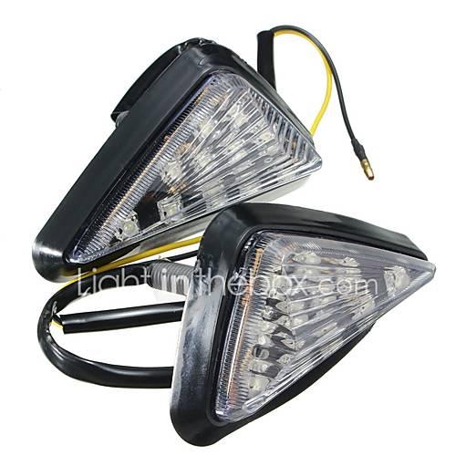 ZIQIAO 1 Pair Motorcycle Clear Flush Mount Turn Signal Light LED Lamp Amber Indicator Blinker Flashers Lighting