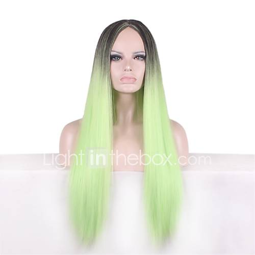 Synthetic Natural Wig Ombre Black/Green Long Straight Wig for Women Costume Wigs Cosplay Capless Wig