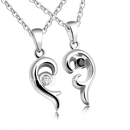 Titanium steel south Korean edition fashion creative love inset diamond students simple love necklace with chain valentine's day gift