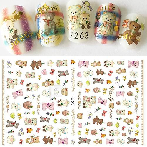 1pcs New Nail Art DIY Beauty Design Lovely Bear Doll Cartoon Animal Cute Pet Cute Decoration Nail Art 3D Sticker F263