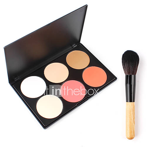 Professional 6 Color Pressed Powder Palette Nude Makeup Contour Blusher Goat Hair Large Cheek Blush Face Wood Collection Cosmetic Tools