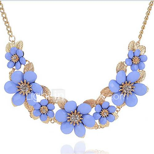 Women's Flower Floral Flower Style Bohemian Flowers Statement Necklace Rhinestone Alloy Statement Necklace  Party Holiday