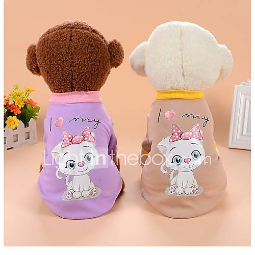 Dog Sweatshirt Dog Clothes Casual/Daily Cartoon Khaki Purple