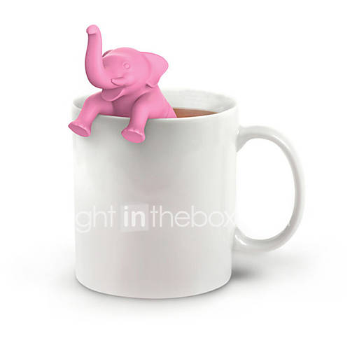1PC Tea Infuser Silicone Pink Elephant Shape Cup Loose Leaf Herb Spice Filter Tea Tools
