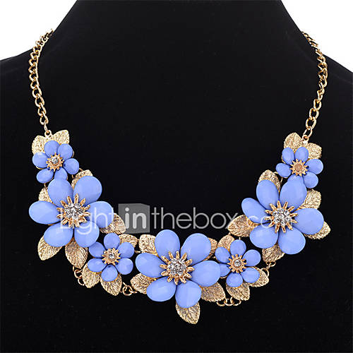 Women's Pendant Necklaces Imitation Diamond Flower Gold Plated Alloy Fashion Personalized Jewelry For Daily Date