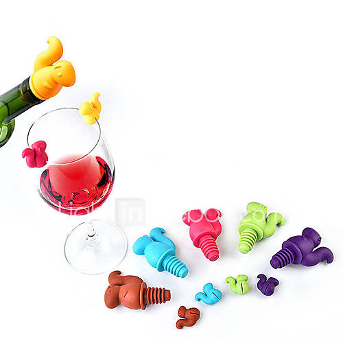 7Pcs Cute Squirrel Wine Bottle Stopper Silicone Drink Glass Cup Markers Recognizer Labels Random Color