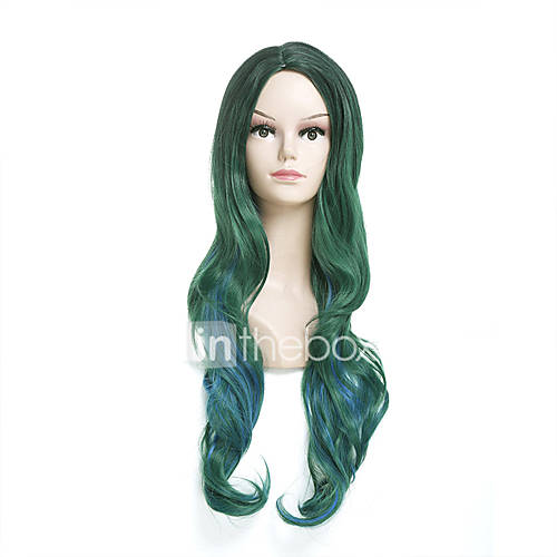 Women Synthetic Wig Capless Long Body Wave Green Ombre Hair Halloween Wig Costume Wig