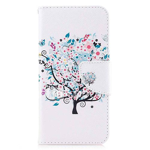 For Case Cover Card Holder Wallet with Stand Flip Magnetic Pattern Full Body Case Tree Hard PU Leather for LG LG Q8 LG Q6 LG V30