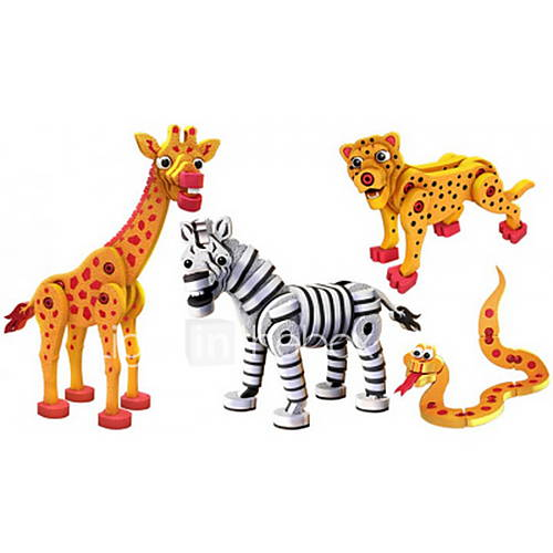 DIY KIT Building Blocks Toys Snake Zebra Animals Kids 4 Pieces