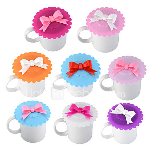 Cute Bow Lace Dustproof Reusable Cup Silicone Lid Thermal Insulation Seal Cup Cover 1pcs Random Color
