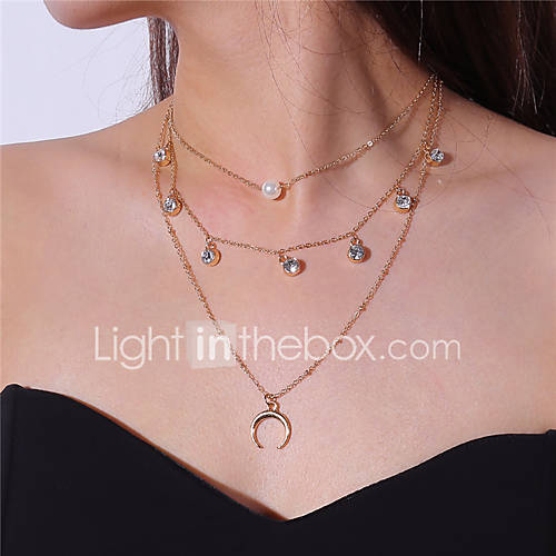 Women's Moon Shape Multi Layer Fashion Pendant Necklace Rhinestone Imitation Pearl Imitation Pearl Alloy Pendant Necklace Party Date