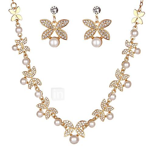 Women's Stud Earrings Necklace Rhinestone Imitation Pearl Imitation Pearl Imitation Diamond Alloy Flower Classic Fashion Engagement