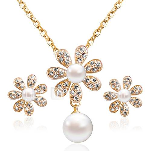 Women's Stud Earrings Necklace Rhinestone Imitation Pearl Imitation Pearl Imitation Diamond Alloy Flower Classic Fashion Daily 1 Necklace