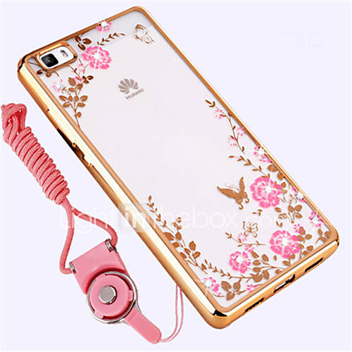Case For Huawei P8 Lite Shockproof Rhinestone Back Cover Flower Soft Silicone for Huawei P8 Lite