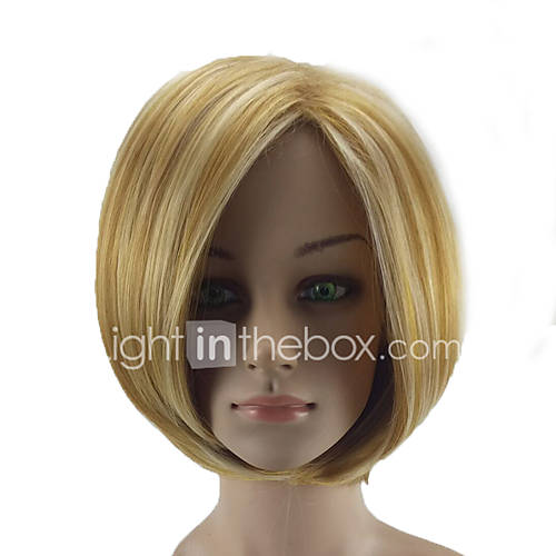 Synthetic Wig Straight Bob Haircut Highlighted/Balayage Hair Blonde Women's Capless Natural Wigs Short Synthetic Hair