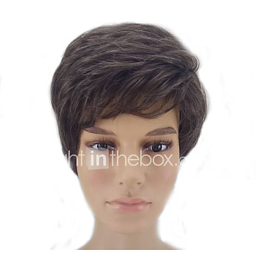 Synthetic Wig Straight Layered Haircut Natural Hairline Brown Men's Capless Natural Wigs Short Synthetic Hair