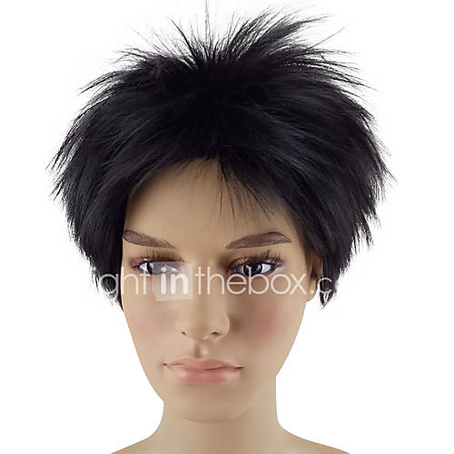 Synthetic Wig Straight Layered Haircut Natural Hairline Black Red Men's Capless Natural Wigs Short Synthetic Hair