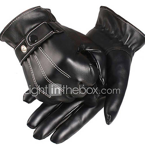 Sporty Full Finger Men's Motorcycle Gloves PU Leather/Polyurethane Leather Keep Warm Fleece Lining Sports