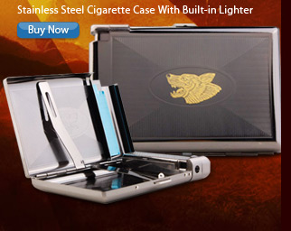 Stainless Steel Cigarette Case With Built-in Lighter