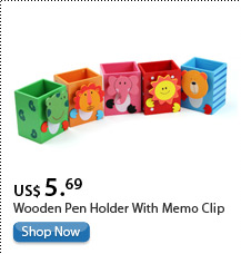 Wooden Pen Holder With Memo Clip