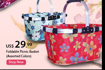 Foldable Picnic Basket (Assorted Colors)