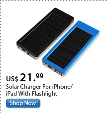 Solar Charger For iPhone/iPad With Flashlight