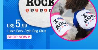 I Love Rock Style Dog Shirt