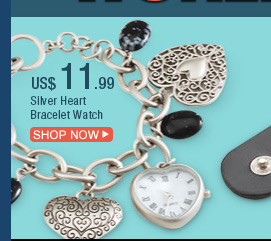 Silver Heart Bracelet Watch