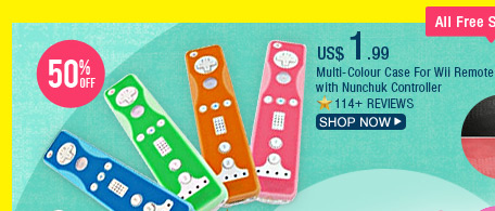 Multi-Colour Case For Wii Remote with Nunchuk Controller