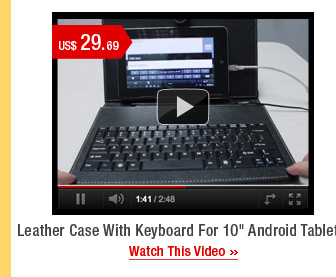 """Leather Case With Keyboard For 10"""" Android Tablets"""