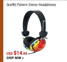 Graffiti Pattern Stereo Headphones