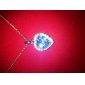 Blue Shining Crystal And Platinum Plated Alloy Heart Shaped Pendant Necklace